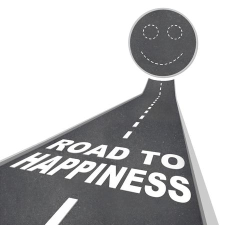 にこやかな表面につながる通りに白い文字で単語の幸福への道