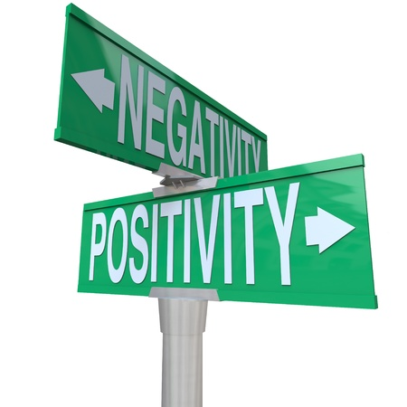 negativity: A green two-way street sign pointing to Positivity vs Negativity
