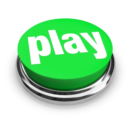 A green button with the word Play on it Stock Photo - 8370906