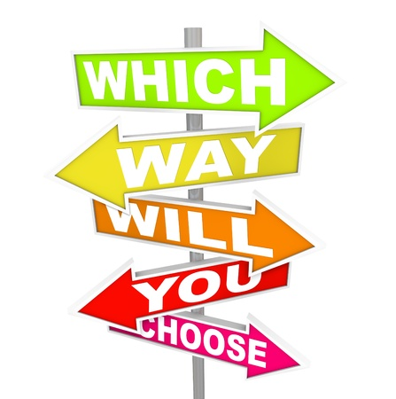career choices: Several colorful arrow street signs with the question - which way will you choose?