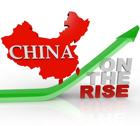 foreign trade: A map of China riding an arrow upward, over the words On the Rise, symbolizing the emergence of the country as a world superpower Stock Photo