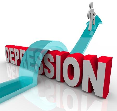 depresi�n: Una persona salta sobre la palabra depresi�n, montando una flecha a la felicidad
