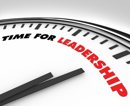White clock with words Time for Leadership on its face Stock Photo