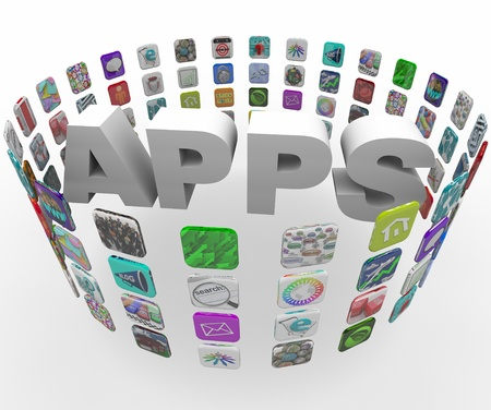 usefulness: The word Apps in a circular pattern of application tile buttons as found on smart phones and tablet computers Stock Photo
