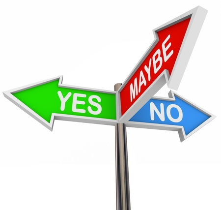 möglicherweise: Drei bunten Pfeil Zeichen lesen ja, Nein und vielleicht Lizenzfreie Bilder