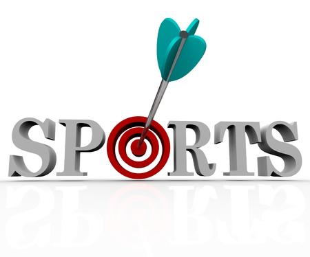 Il parola sport con un Bullseye per la lettera O e una freccia al centro del bersaglio Archivio Fotografico - 8413202