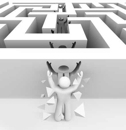 barriers: A man runs through a maze and breaks through into freedom