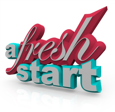 frisse start: De woorden A Fresh Start in 3D op een witte achtergrond