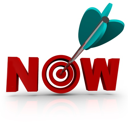 An arrow hits a bullseye in the word Now, symbolizing urgency Stock Photo - 8491165