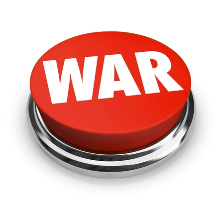 enemies: A red button with the word War on it