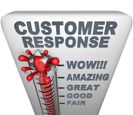 A thermometer with mercury bursting through the glass, and the words Customer Response, symbolizing a fantastic campaign Stock Photo - 8577612