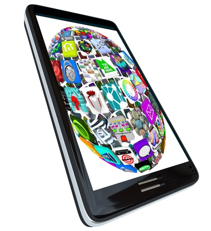 A sphere pattern of application icons displayed a  modern black smart phone Stock Photo - 8610745