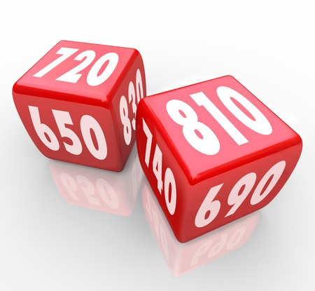 점수: Two red dice with credit scores on their faces 스톡 사진