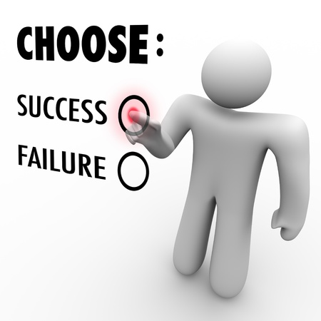 failed plan: A man presses a button beside the word Success when asked to choose between being successful and a failure