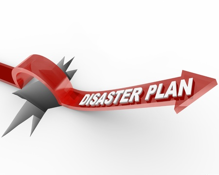 plan a: A red arrow with the words Disaster Plan leaps over a wide hole Stock Photo