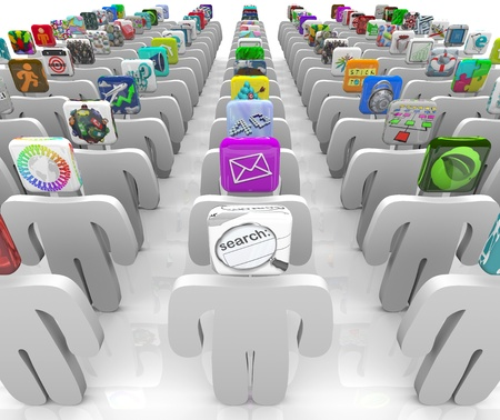 Many people with app tiles for heads stand in rows symbolizing the vast selection of the online software marketplace Stock Photo