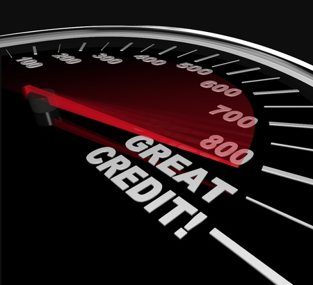 점수: The needle on a speedometer points to great credit scores, speeding up to and past 800