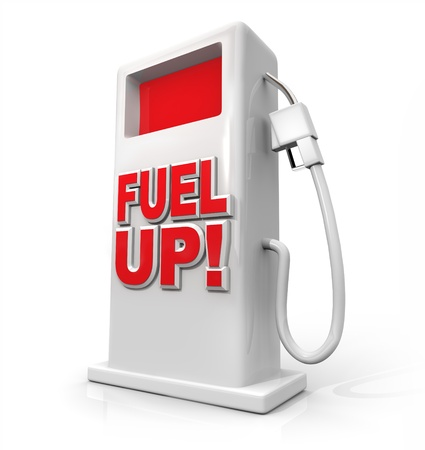 gas pump: A white pump with red screen and the words Fuel Up on its front Stock Photo