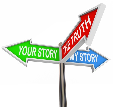 honestidad: Tres signos de flecha colorido, lectura de la narraci�n, My Story y la verdad Foto de archivo