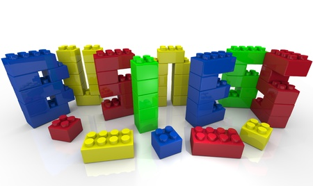 to incorporate: The word Business formed with plastic toy blocks