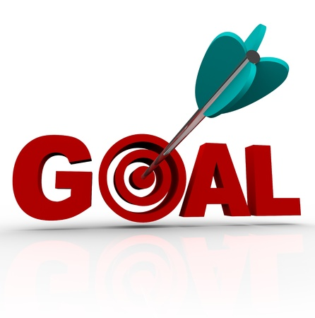 doelen: Het woord doel met een pijl schoot in de doel groep binnen de letter o Stockfoto