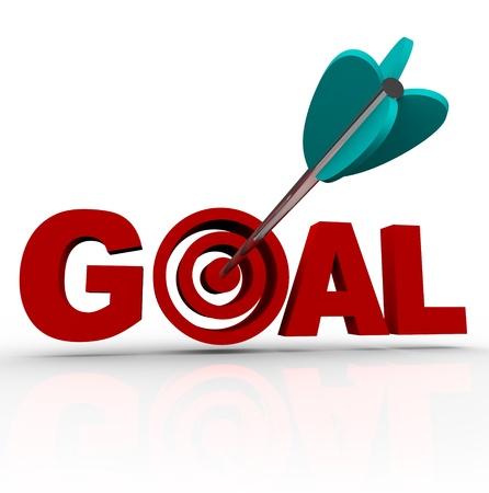 metas: La palabra disparo de meta con una flecha en el destino dentro de la letra o Foto de archivo