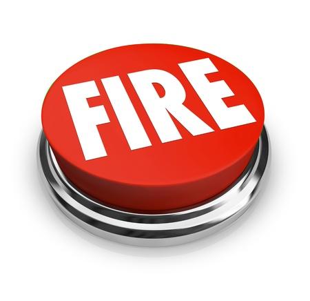 panic button: Un pulsante rosso con la parola fuoco su di esso Archivio Fotografico