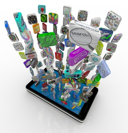 mobile app: Many application app icons downloading into a smart phone
