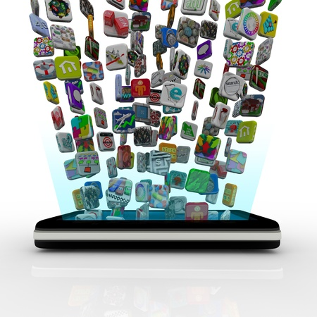 mobile app: Many application icons are downloaded into a modern black smart phone, appearing to float over the device Stock Photo