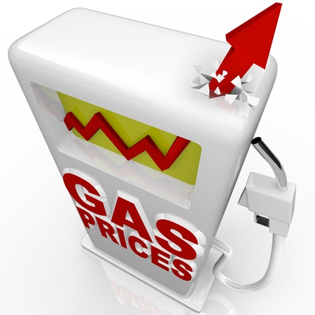 gas pump: A red arrow crashes through top of gasoline pump over the words Gas Prices