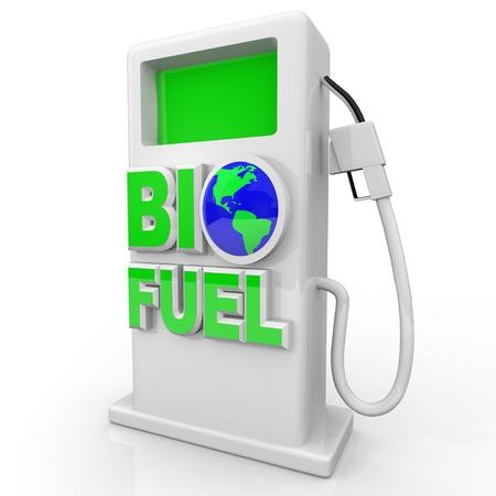 Een groene, milieuvriendelijke en efficiënte gas pomp met de woorden Bio-brandstof