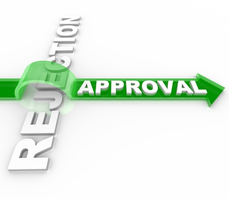 An arrow marked Approval jumps over the word Rejection, symbolizing the dedication it takes to overcome negative feedback and reactions Stock Photo - 8779463