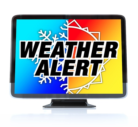 A HDTV television with the words Weather Alert and a snowflake and sun on the screen