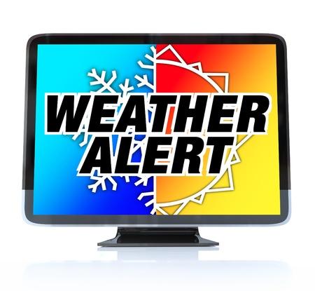 alerta: Una televisi�n HDTV con las palabras de alerta de clima y un copo de nieve y el sol en la pantalla