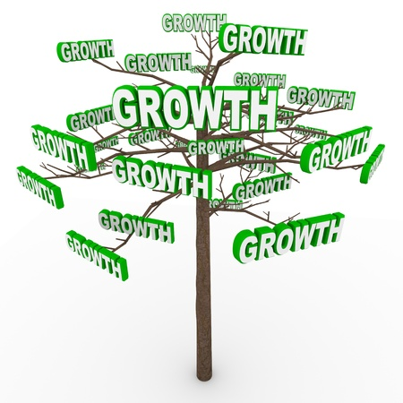 A tree with the word Growth sprouting off many branches, symbolizing organic or envionmental growing or increases Archivio Fotografico