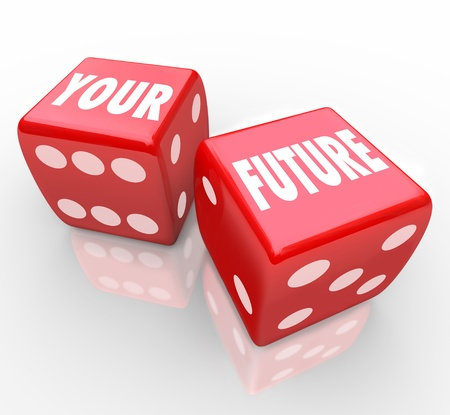 Two red dice with the words Your Future on their faces, symbolizing the risks in gambling