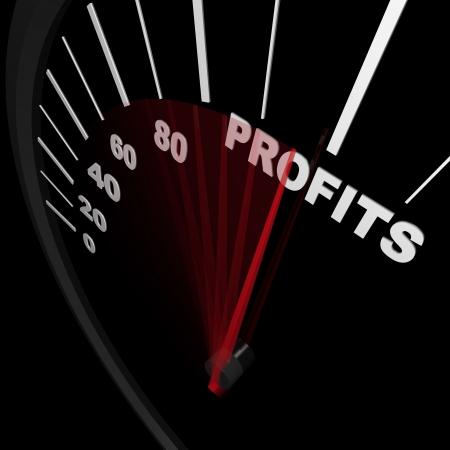 incremento: Un velocímetro sube ventas crecientes que representa con aguja apuntando a los beneficios de la palabra