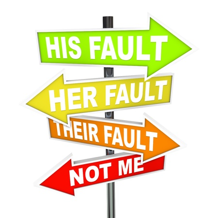 liar: Several colorful arrow street signs with words Not Me - His, Her and Their Fault, symbolizing the twisting of the truth and shifting of blame