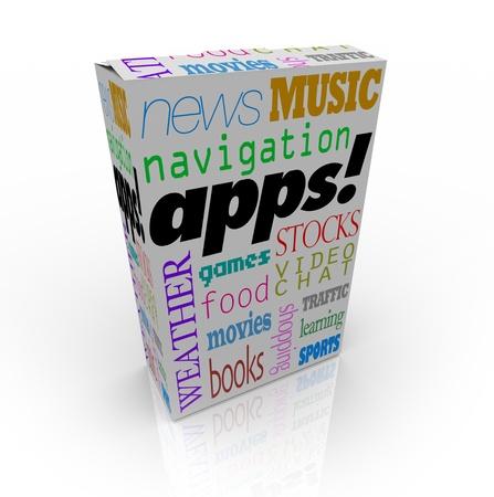 listing: Una caja de cereales con la palabra Apps y una lista de muchos diferentes tipos de programas de software aplicaci�n po - m�sica, pel�culas, navegaci�n y m�s Foto de archivo