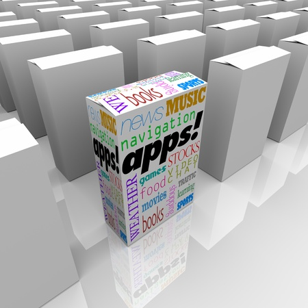 Many boxes on a store shelf, one with the word Apps and many types of applications listed on it Stock Photo - 8924216