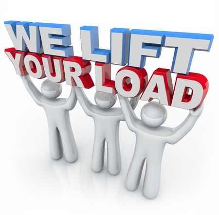 overwhelm: Three people hold the words We Lift Your Load, symbolizing the care provided by counselors and mental health professionals Stock Photo