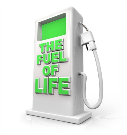 gas pump: A white pump with green screen and the words The Fuel of Life on its front, symbolizing natural fuels or foods that provide power but are environmentally minded Stock Photo