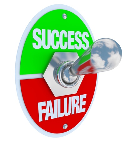 option: A metal toggle switch with plate reading Success and Failure, flipped in the Success position, symbolizing the decision to succeed in life Stock Photo