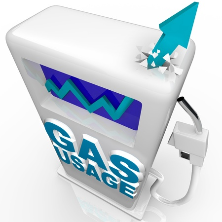 energize: A blue arrow crashes through top of gasoline pump over the words Gas Usage, symbolizing the growing worldwide demand and consumption of oil Stock Photo