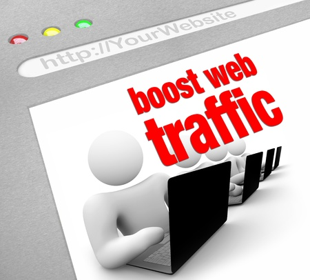 website words: A web browser window shows the words Boost Web Traffic and several people working on laptop computers Stock Photo