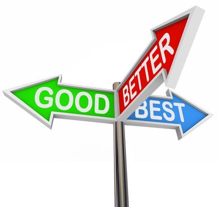 Trois flèches colorées lisant Good, Better, Best, offrant de l'aide et des décisions sur la comparaison shopping ou de voyage et à la recherche de l'itinéraire idéal