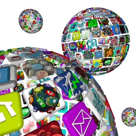 A galaxy of app planets, symbolized by several worlds of apps making up spheres, symbolizing the many opportunities for dowloading programs to mobile devices like smart phones and tablet computers Stock Photo - 8989841
