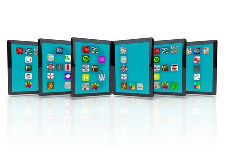 mobile app: Several tablet compueters with apps, spelling out the word Tablet, representing the many applications and software available for tablets Stock Photo