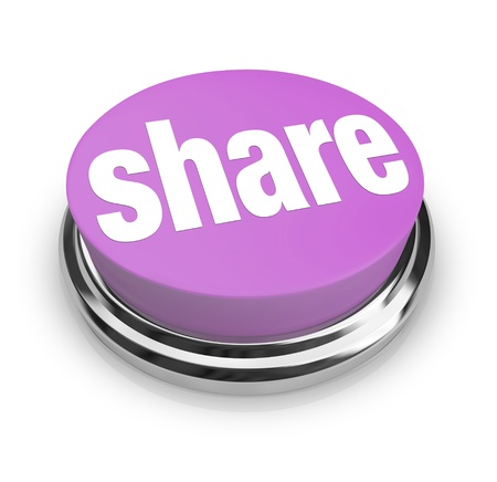 A purple button with the word Share on it, symbolizing sharing, gifting and generosity photo