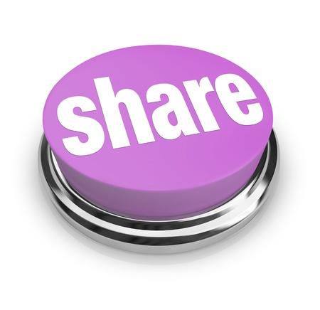 contribuire: Un pulsante viola con la parola Condividi su di esso, che simboleggia la condivisione, regali e generosit�